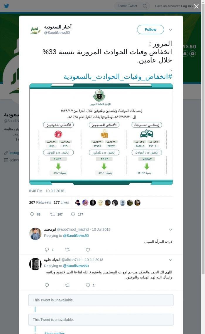 لقطة لاول تغريدة في هاشتاق #انخفاض_وفيات_الحوادث_بالسعوديه