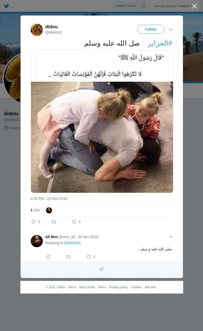 لقطة لاول تغريدة في هاشتاق #الجزاير