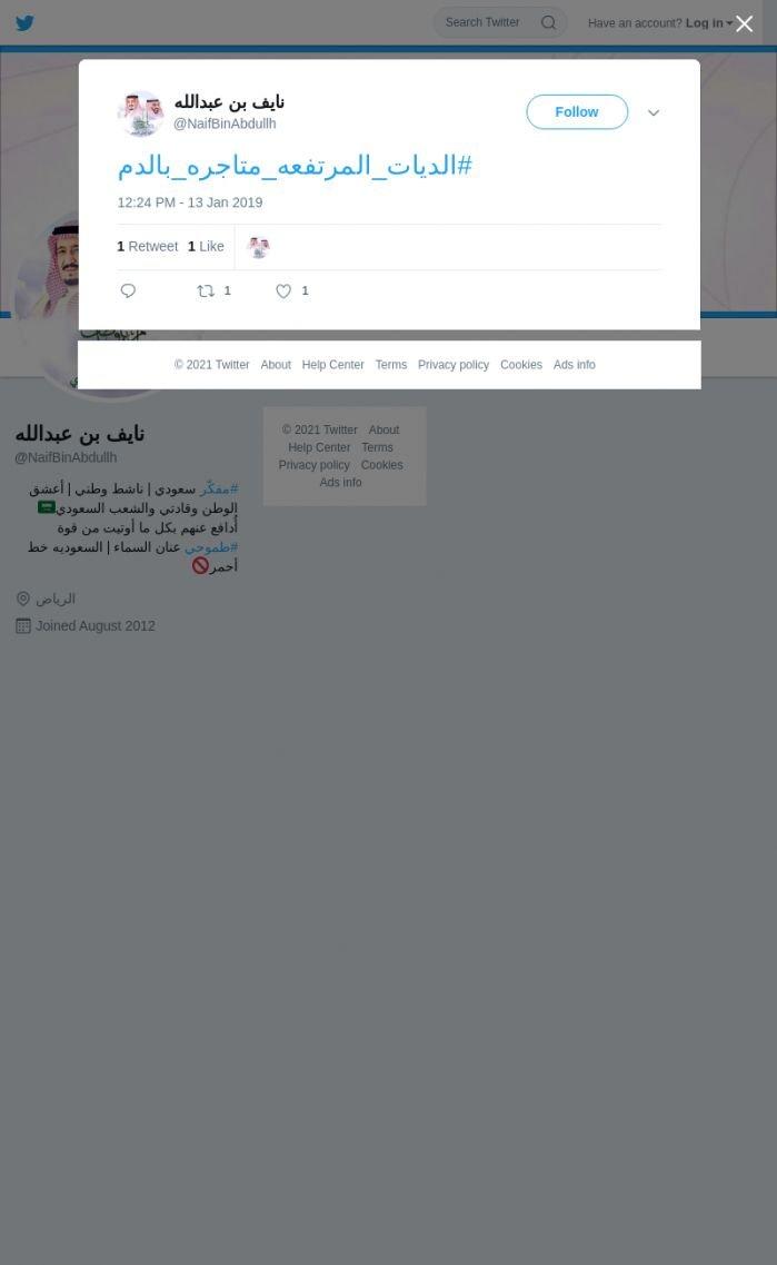 لقطة لاول تغريدة في هاشتاق #الديات_المرتفعه_متاجره_بالدم