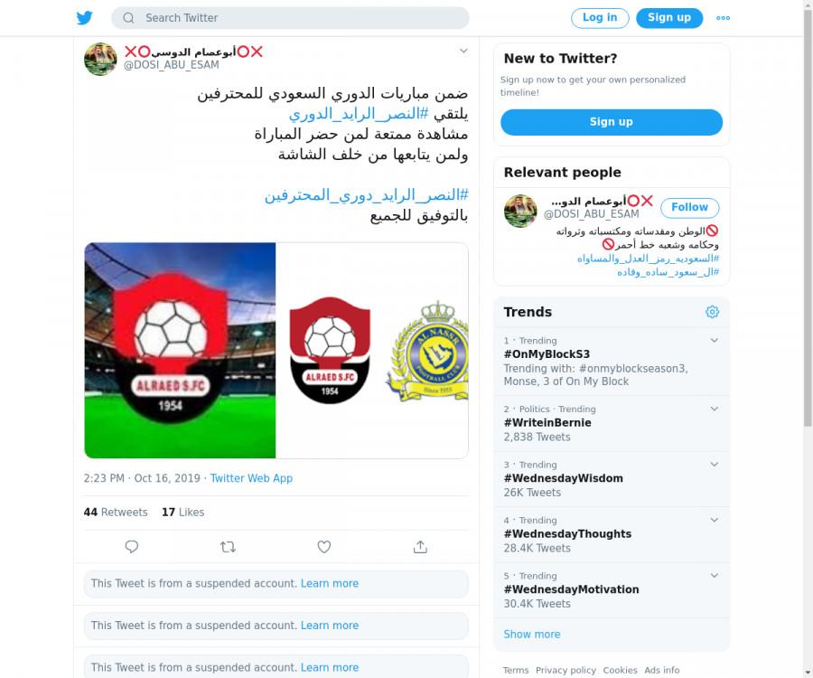 لقطة لاول تغريدة في هاشتاق #النصر_الرايد_الدوري