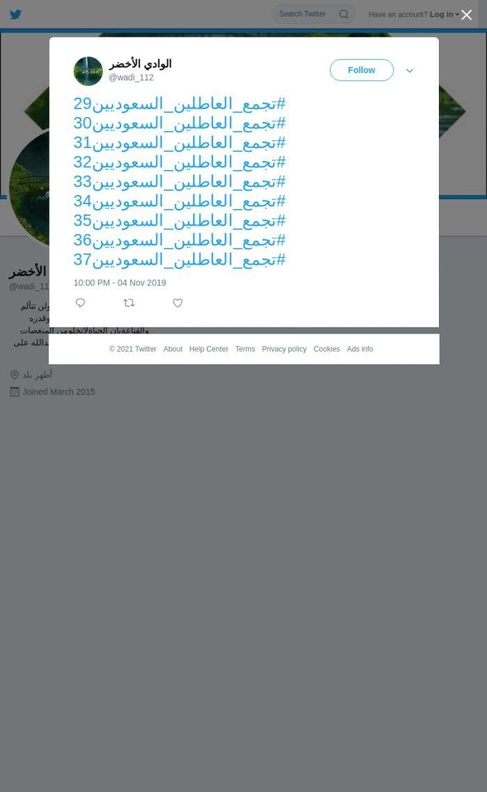 لقطة لاول تغريدة في هاشتاق #تجمع_العاطلين_السعوديين36