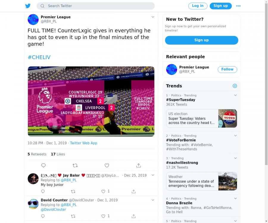 لقطة لاول تغريدة في هاشتاق #CHELIV