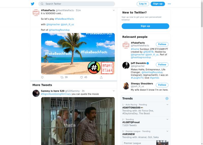 لقطة لاول تغريدة في هاشتاق #FakeBeachFacts