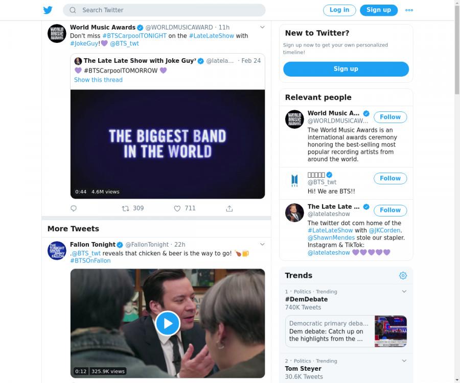 لقطة لاول تغريدة في هاشتاق #BTSCarpoolTONIGHT
