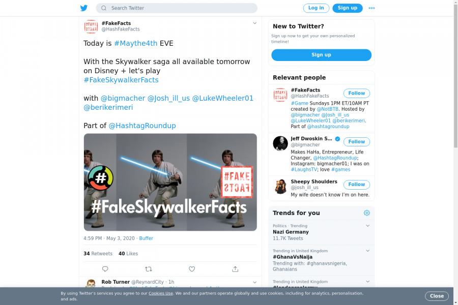 لقطة لاول تغريدة في هاشتاق #FakeSkywalkerFacts
