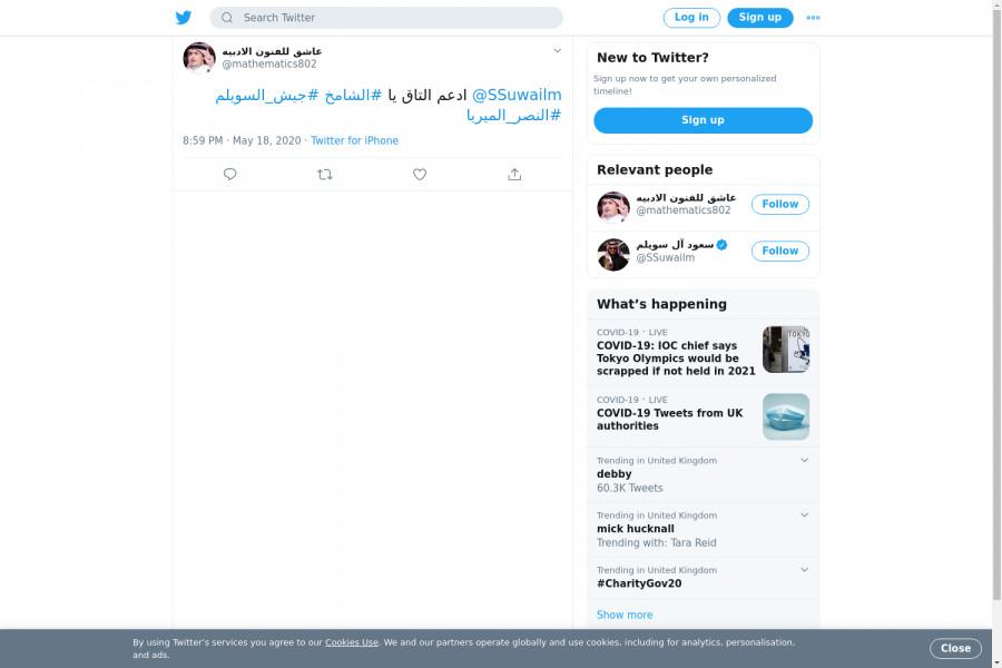 لقطة لاول تغريدة في هاشتاق #النصر_الميريا