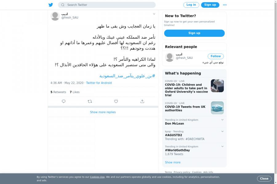 لقطة لاول تغريدة في هاشتاق #بن_علوي_يتامر_ضد_السعوديه