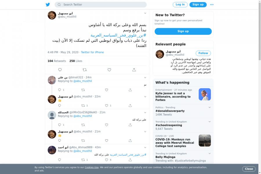 لقطة لاول تغريدة في هاشتاق #بن_علوي_فخر_السياسه_العربيه