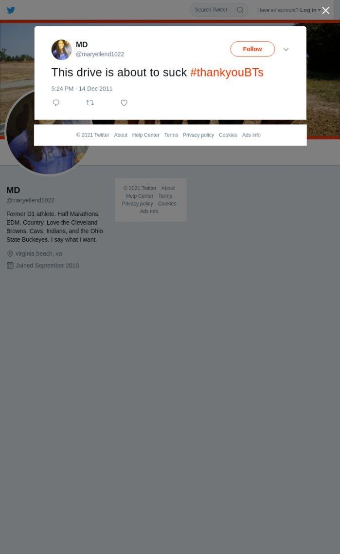 لقطة لاول تغريدة في هاشتاق #ThankYouBTS